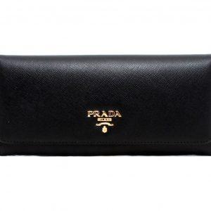 Prada Saffiano Metal Black Leather Snap Close Continental Wallet
