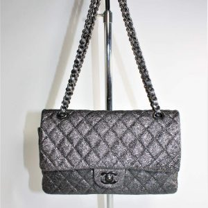 Metallic crackled quilted leather Chanel Medium Double Flap bag