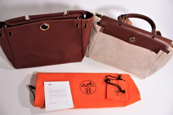 Hermes Herbag 2 in 1 Beige Canvas Brown Leather Shoulder Bag