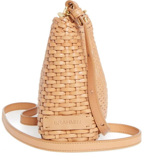 Side View of The Brahmin Woven Leather Clutch